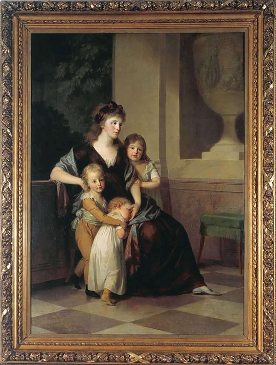 Johann Friedrich August Tischbein (1750-1812), Christiane Amalie Erbprinzessin von Anhalt-Dessau (1774-1846) mit drei Kindern