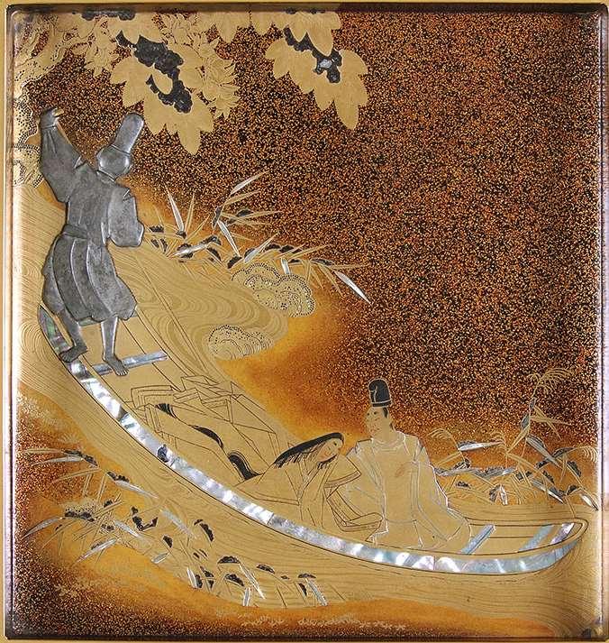 """Schreibkasten mit Dekor zu den """"Geschichten aus Isea"""" und der """"Geschichte des Prinzen Genjia"""", Japan, Tokugawa-Zeit, frühes 18. Jh."""