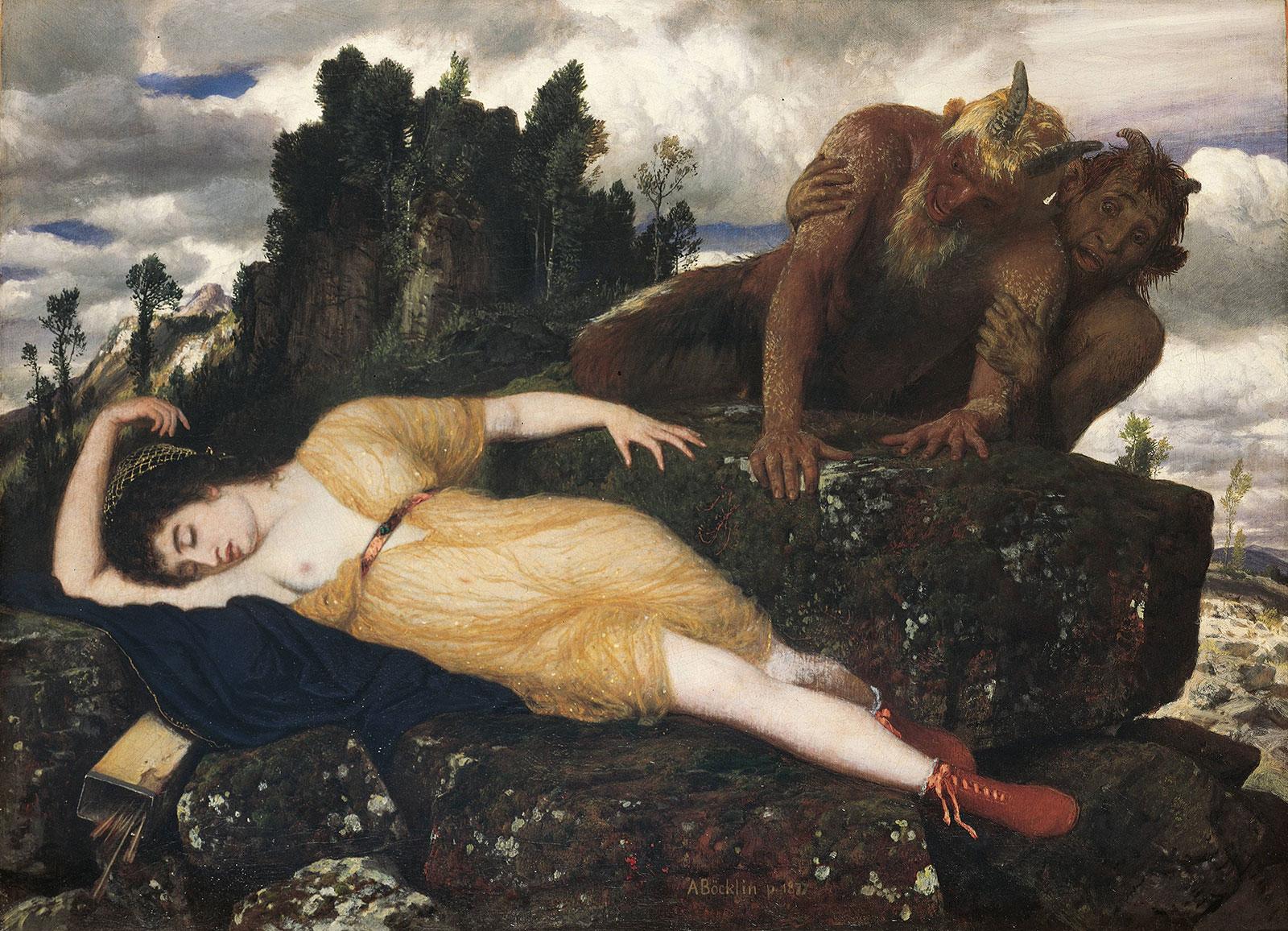 "Arnold Böcklin, ""Schlafende Diana, von zwei Faunen belauscht"", 1877"