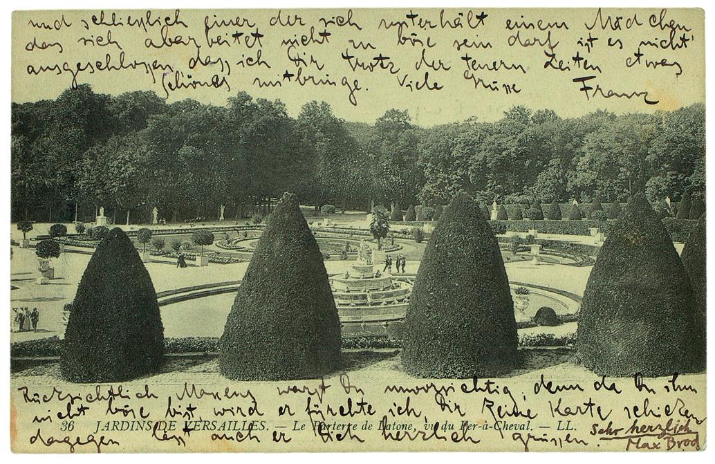 Postkarte von Franz Kafka an Ottla vom 13.9.1911 aus Paris mit einem Gruß Max Brods