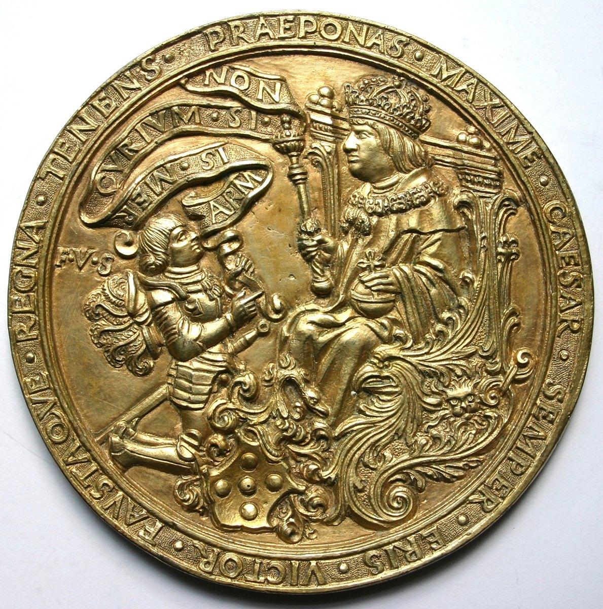 """""""Meister des Triumphwagens Maximilians I."""", Österreich, Kaiser Maximilian I. (1508-1519) und Reichsritter Franz von Sickingen, Prunkmedaille 1518, Guss, Silber vergoldet, 85 mm"""