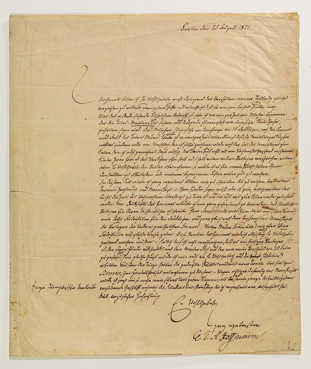 Brief von E.T.A. Hoffmann vom 25. August 1821