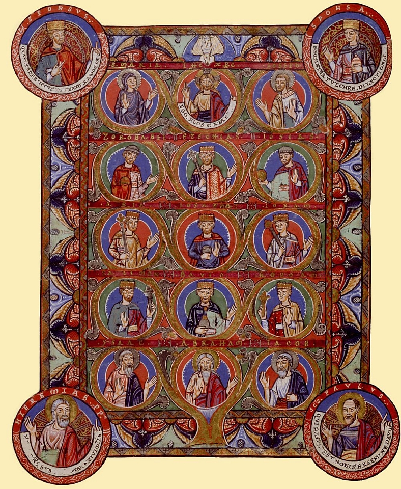 Der Stammbaum Christi aus dem Evangeliar Heinrichs des Löwen (um 1180) zeigt in den drei Medaillons der obersten Reihe Jesus Christus zwischen Maria und Joseph. (Foto: HAB)