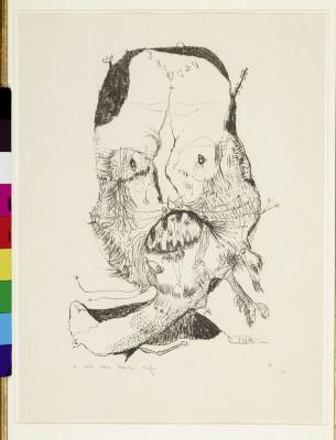 Er tut das Maul auf, 1949, Kreidelithographie, 39 x 25 cm, vormals Sammlung Walter, Kupferstichkabinett Berlin © Stiftung Gerhard Altenbourg, Altenburg / VG Bild-Kunst, Bonn 2015 /Foto: bpk / Kupferstichkabinett, SMB / Volker-H.Schneider