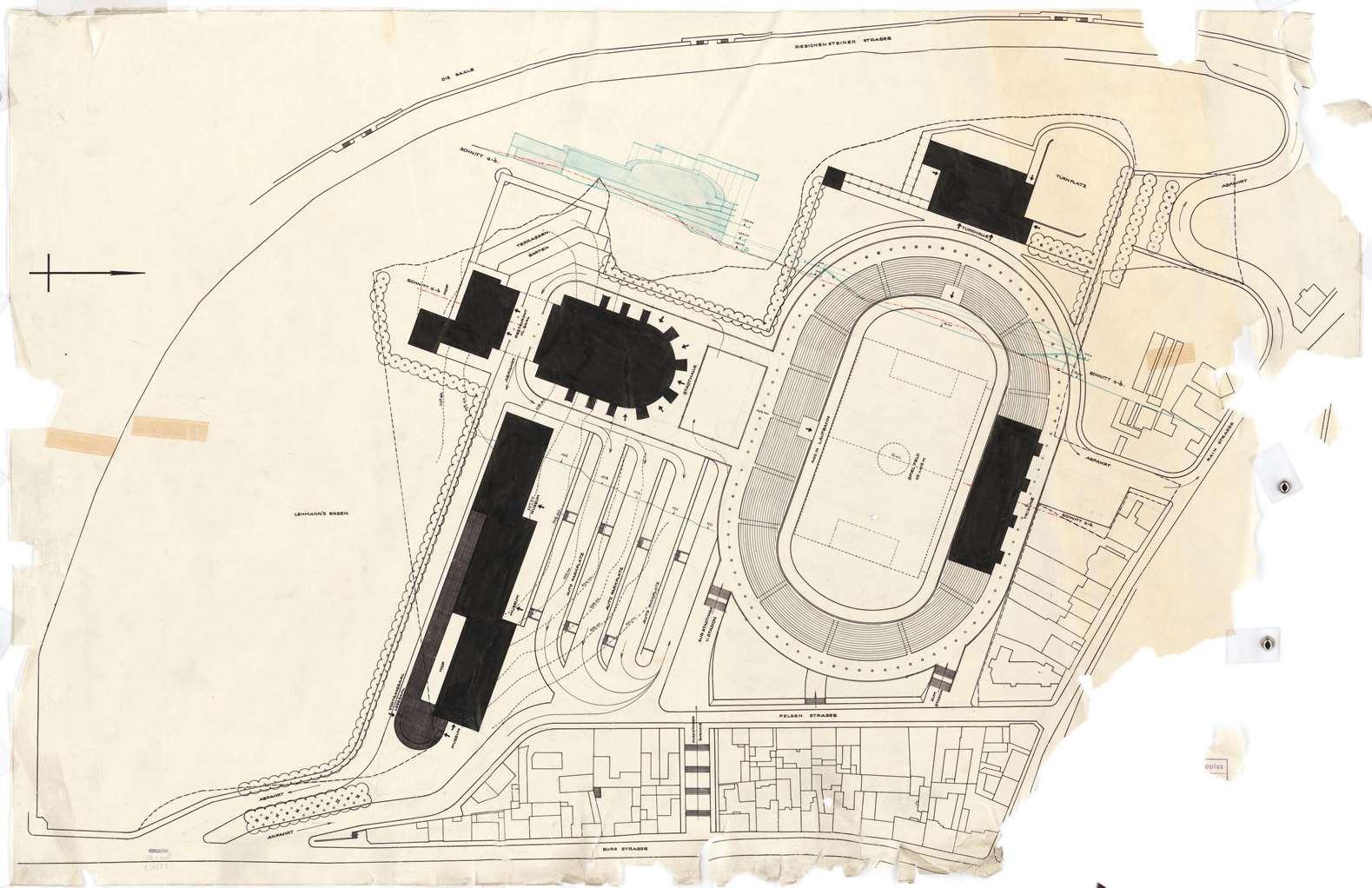 Entwurfszeichnung von Walter Gropius für die Stadthalle in Halle