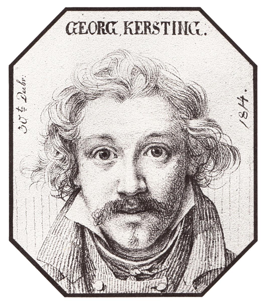 Georg Friedrich Kersting, Selbstbildnis aus dem Carus-Album, einer Porträtsammlung von Künstlerbildnissen des 18. und 19. Jahrhunderts, 1814; Städtische Galerie Dresden