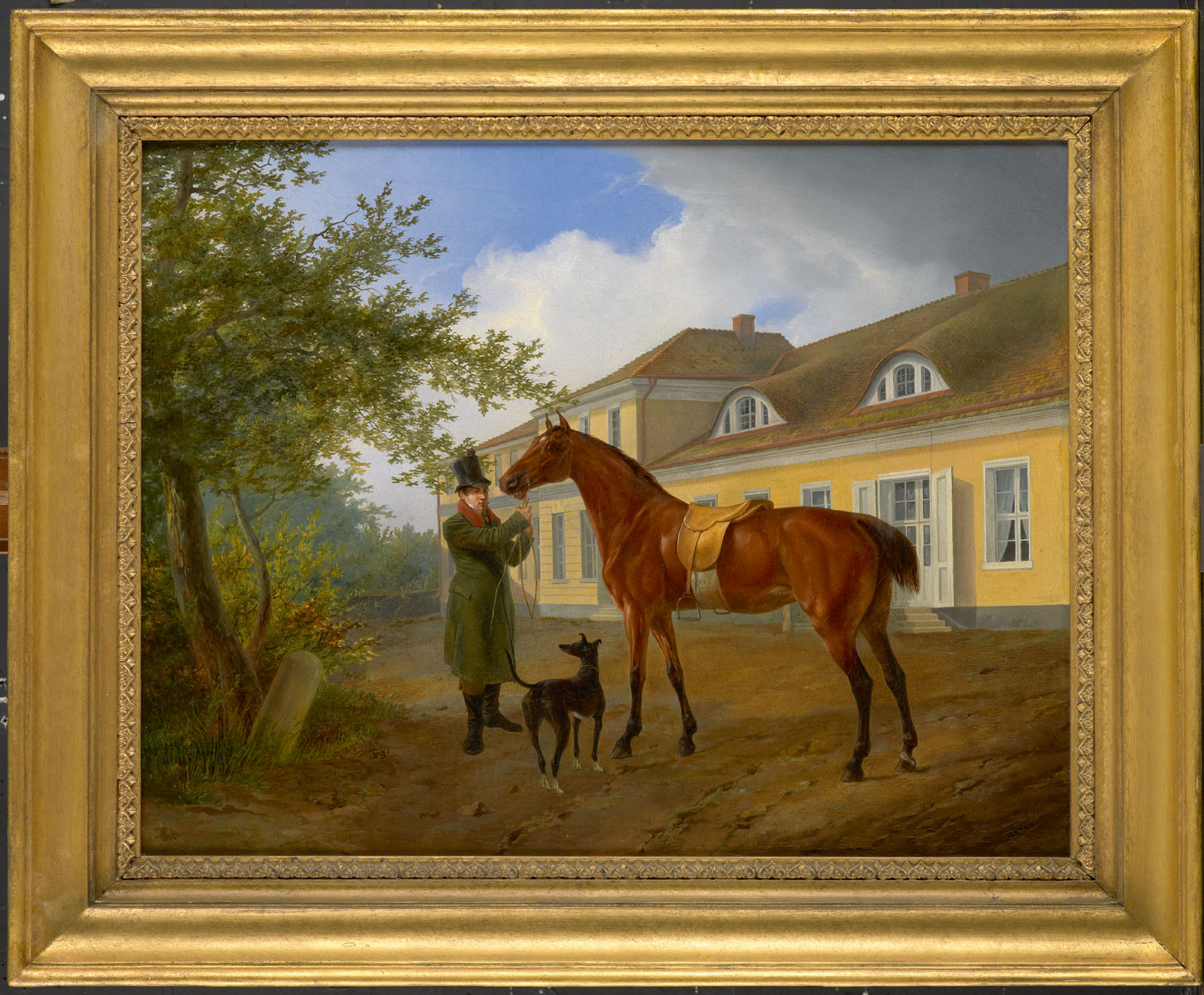 Carl Steffeck, Ansicht der Villa Sorgenfrei mit Reitknecht, Pferd und Windhund, um 1840/45, 49×63 cm