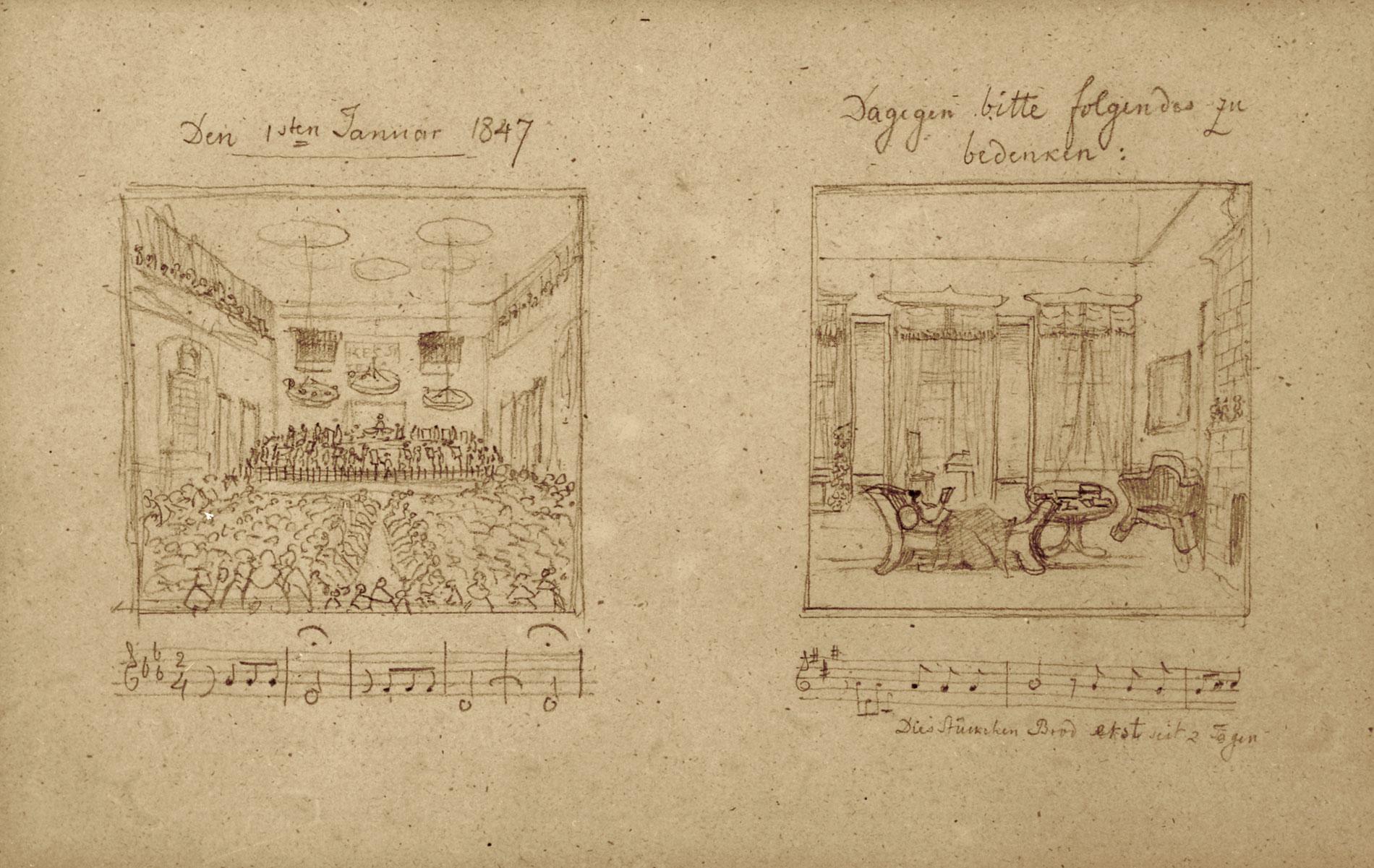Beigelegte Zeichnung zur Absage des Neujahrskonzerts von Mendelssohn Bartholdy