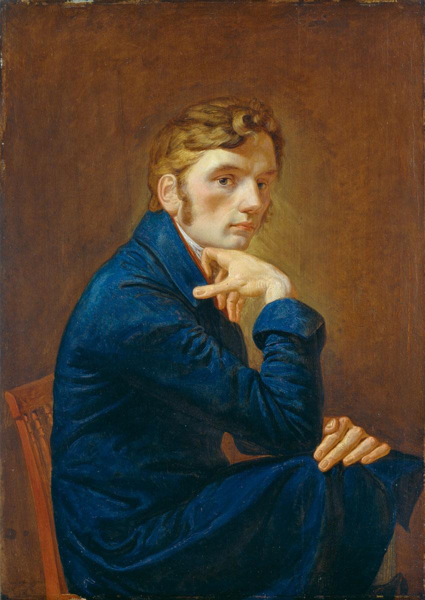 Philipp Otto Runge, Selbstbildnis im blauen Rock, 1805, 40,3×28,9 cm, Hamburger Kunsthalle