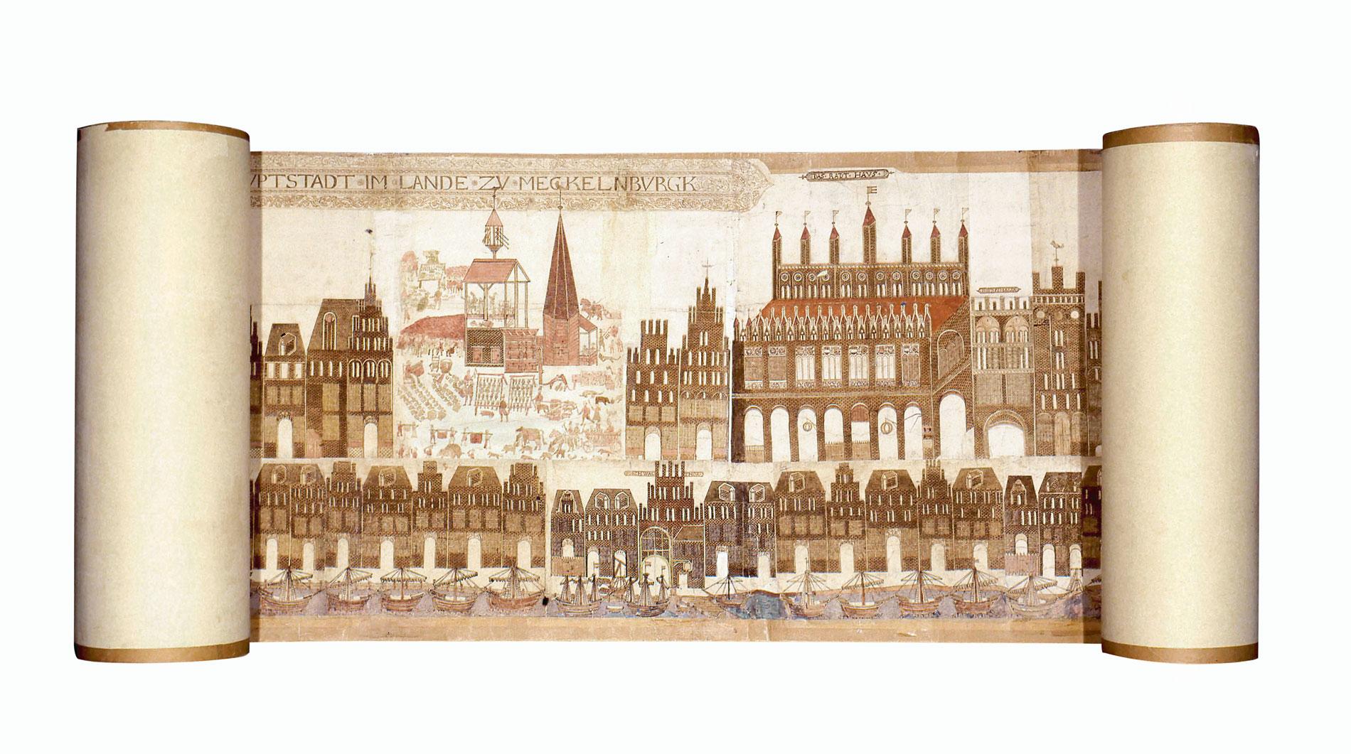 Vicke-Schorler-Rolle, 1.868 × 60 cm; Stadtarchiv Rostock
