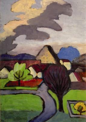 Gabriele Münter, Dorf mir grauer Wolke, 1939, 47,5 x 33,5 cm; Schloßmuseum Murnau © VG Bild-Kunst, Bonn 2015