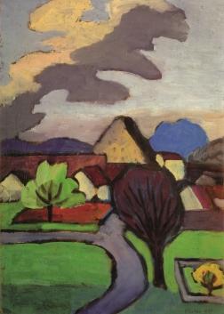Gabriele Münter, Dorf mit grauer Wolke, 1939, 47,5 x 33,5 cm, Schloßmuseum Murnau; © VG Bild-Kunst, Bonn 2015