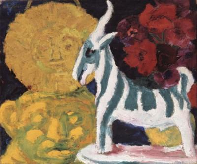 Emil Nolde, Stilleben (mit gestreifter Ziege), 1920, 75 x 88 cm; © Nolde Stiftung Seebüll