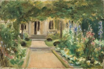Max Liebermann, Blick aus dem Nutzgarten nach Osten auf den Eingang zum Landhaus, 1919, 50,5 × 75,5 cm; Liebermann-Villa am Wannsee, Max-Liebermann-Gesellschaft Berlin e.V.