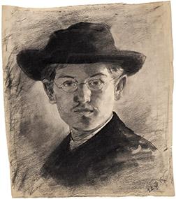 Max Slevogt, Selbstbildnis mit Hut, 1887, 46,5×40,2 cm; Landesmuseum Mainz
