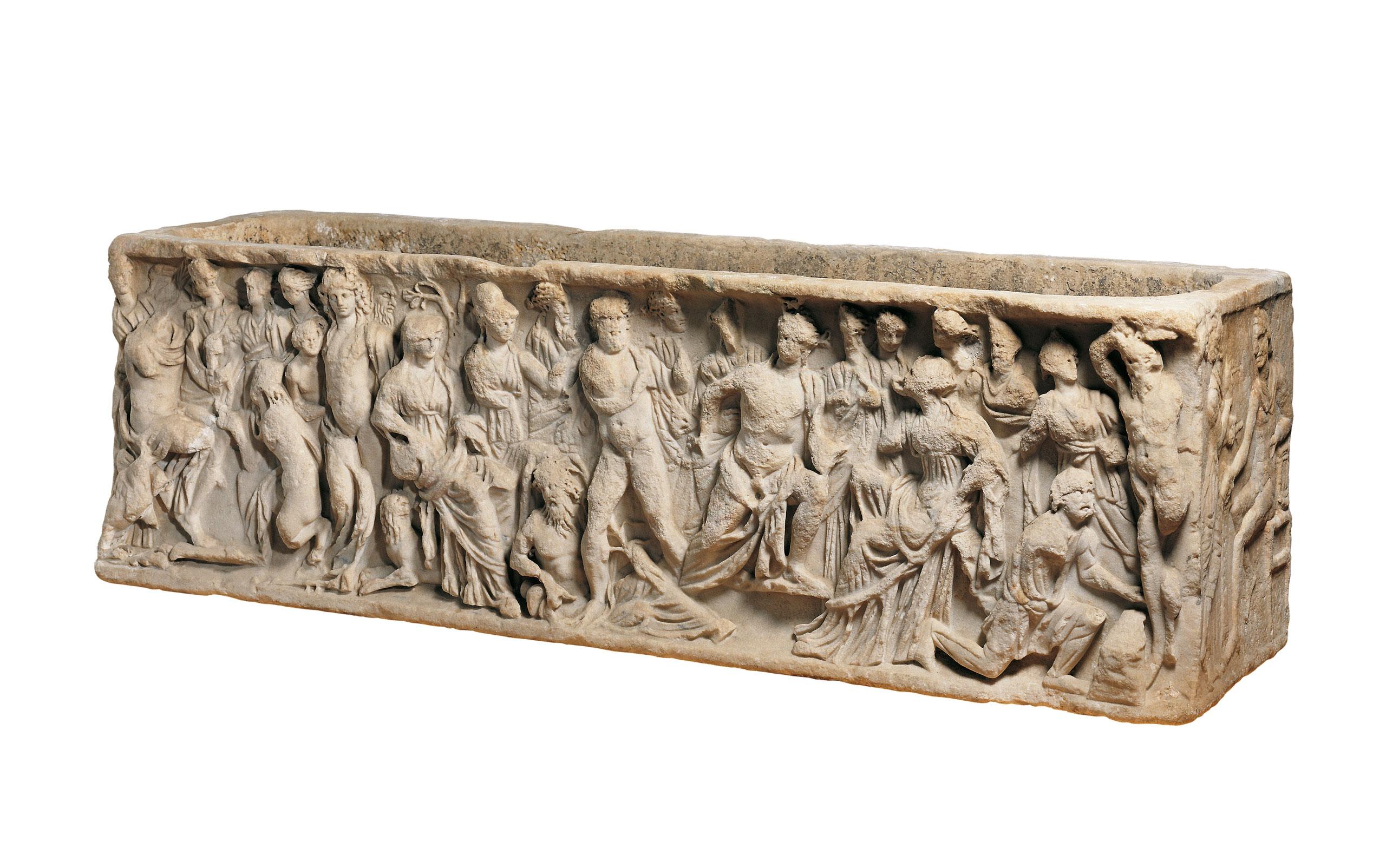 Der Mythos von Athena, Marsyas und Apoll, Römischer Marmorsarkophag, Ende 2. Jh. n. Chr. © Liebieghaus Skulpturensammlung, Frankfurt; Foto: Rühl & Bormann