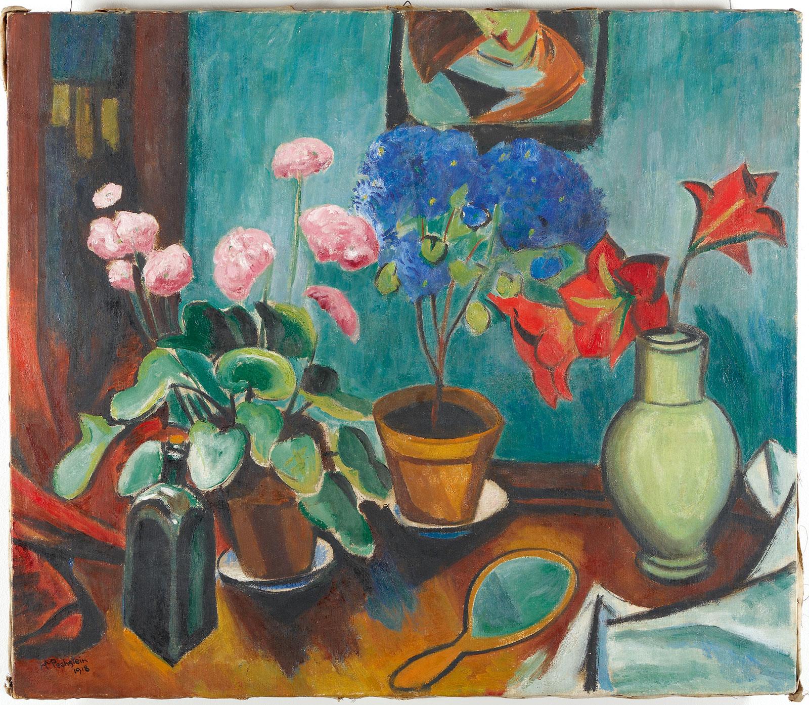 Max Pechstein, Blumen, Flasche und Spiegel, 1918
