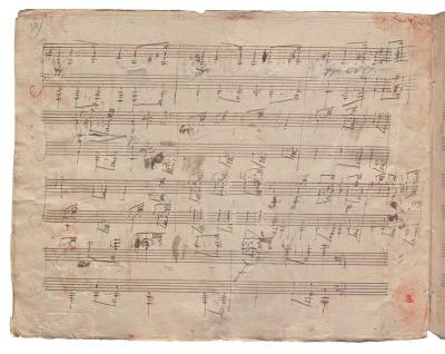 Ganzseitig überklebter Anfangsteil der 14. Diabelli- Variation (S. 30 des Autographs)