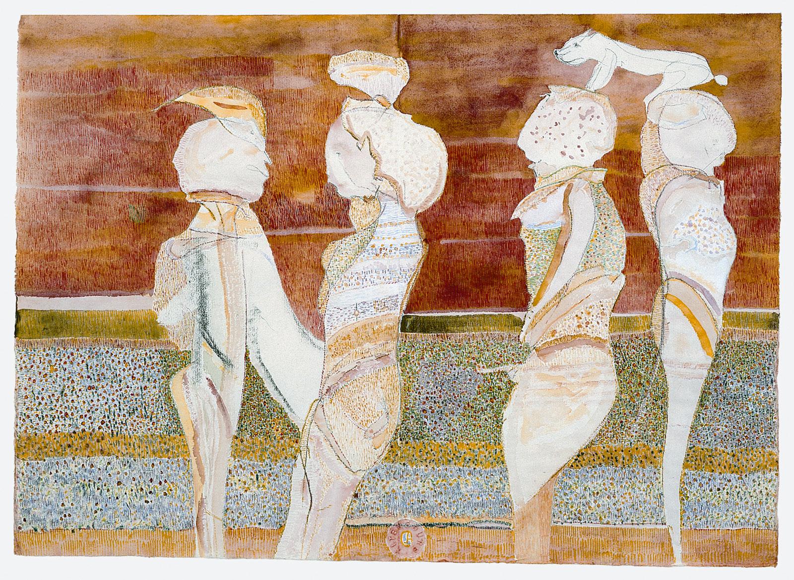 Gerhard Altenbourg, Wie ägyptische Gottheiten bekrönt, undatiert