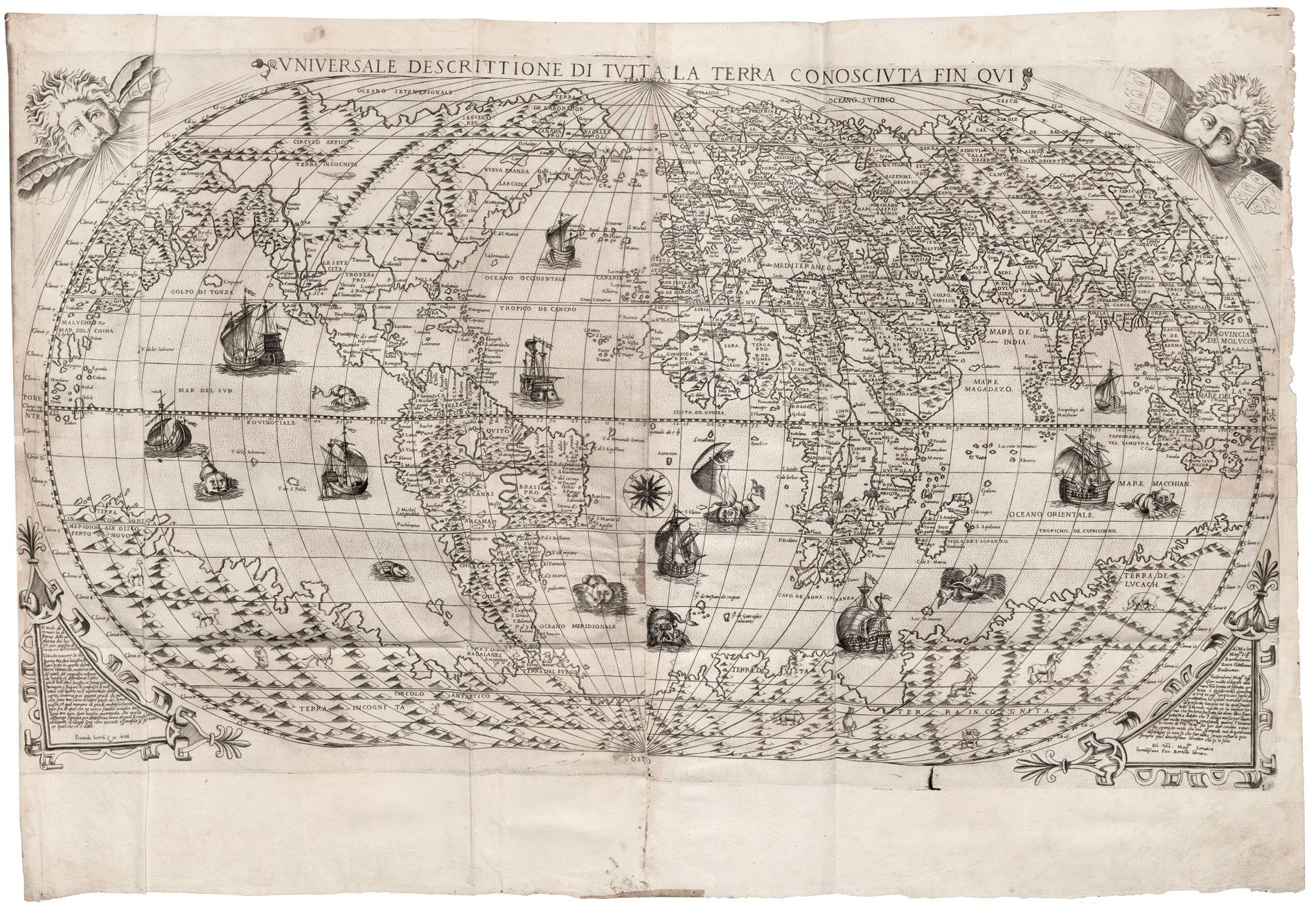 Aus dem Atlas von Antonio Lafreri: Fernando Bertelli, Universale descrittione di tutta la terra conosciuta fin qui, 1571, 44×76 cm; Bayerische Staatsbibliothek, München