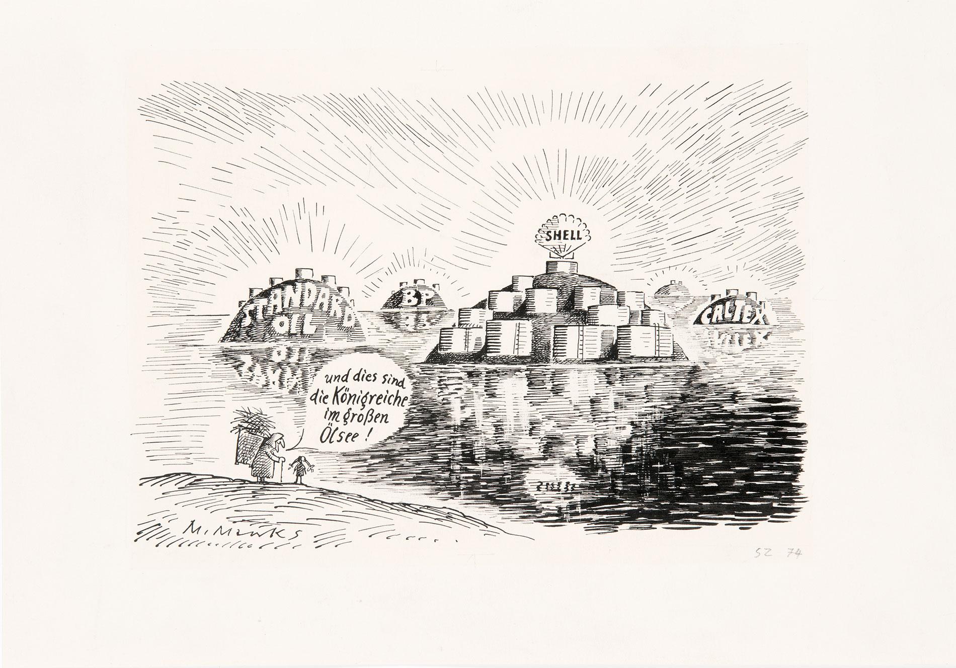 Marie Marcks, Karikatur für die Zeitung Vorwärts, 1978, 32×24 cm; Wilhelm Busch–Museum für Karikatur und Zeichenkunst, Hannover