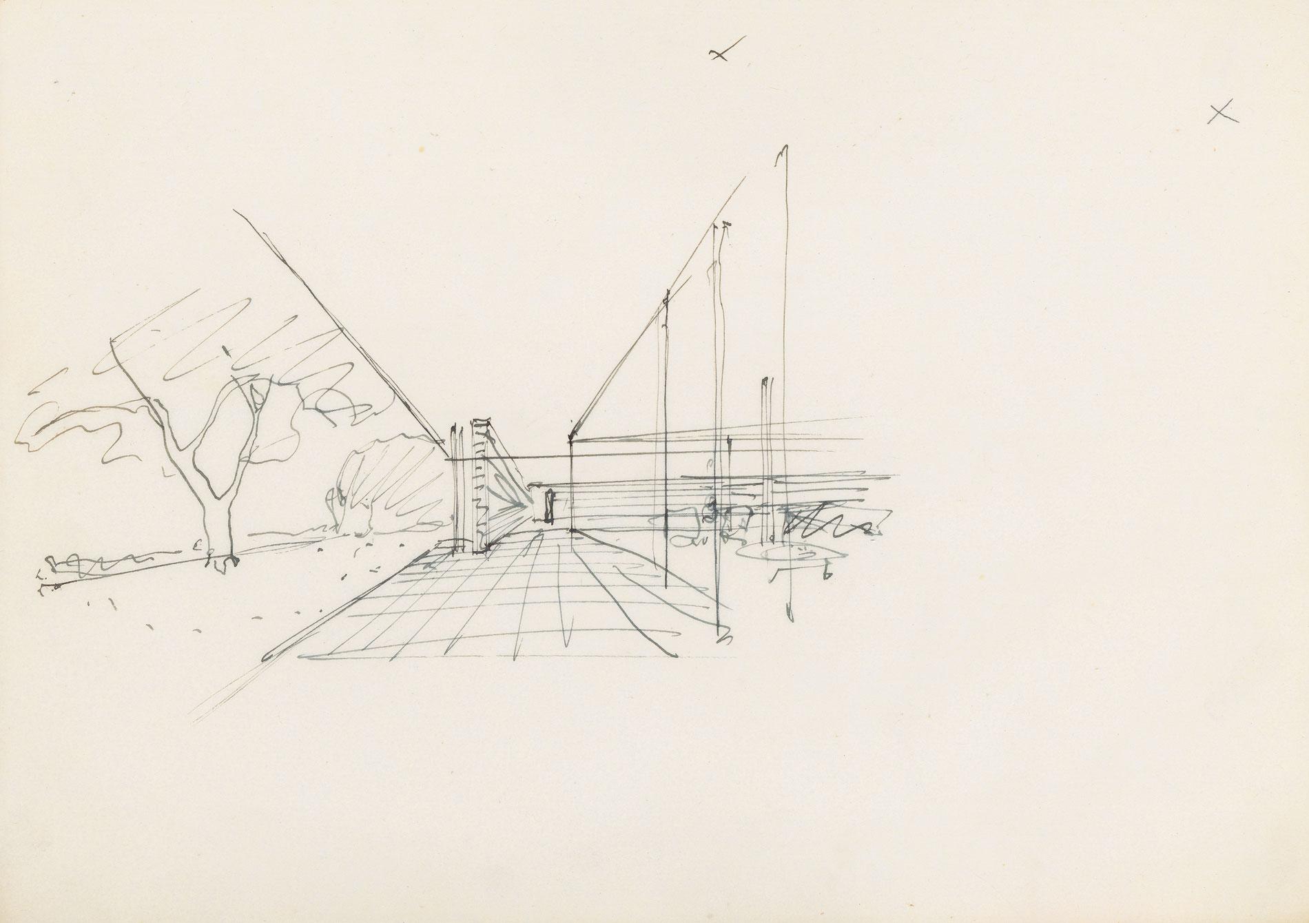 Ludwig Mies van der Rohe, Entwurf für ein Pavillon-Haus, 1934; Bauhaus-Archiv - Museum für Gestaltung, Berlin