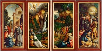 Der Wildensteiner Altar im geschlossenen Zustand, in der Lesrichtung von links nach rechts drei Passionsszenen: der Abschied Christi von seiner Mutter (72×30 cm), daneben flügelübergreifend Christus am Ölberg (je 68×28 cm) und schließlich rechts die Gefangennahme Christi (72×30 cm)