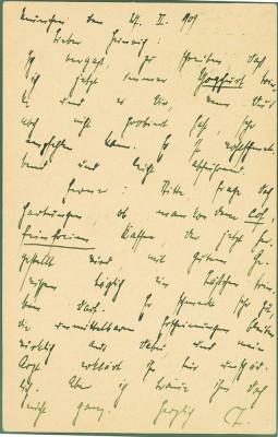 Karte vom 27.2.1909 von Thomas Mann an Heinrich Mann © die LÜBECKER MUSEEN / Buddenbrookhaus