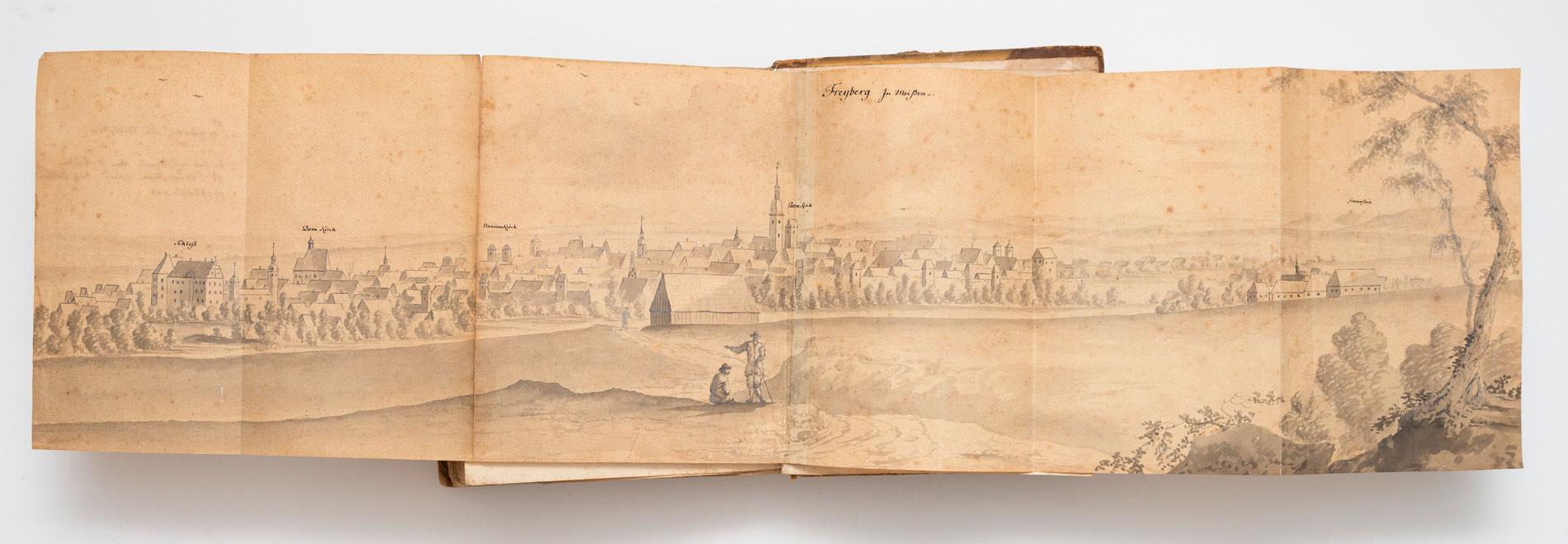 Johann Andreas Silbermann, Ansicht Freibergs aus: Anmerckungen derer Auf meiner Sächsischen Reysse gesehenen Merckwürdigkeiten, 1741; © SLUB Dresden/Henrik Ahlers