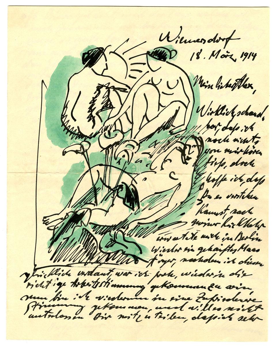 Max Pechstein, Illustrierter Brief vom 18. März 1914 aus Berlin an Alexander Gerbig, Suhl; Kunstsammlungen Zwickau © 2014: Pechstein-Hamburg/Tökendorf