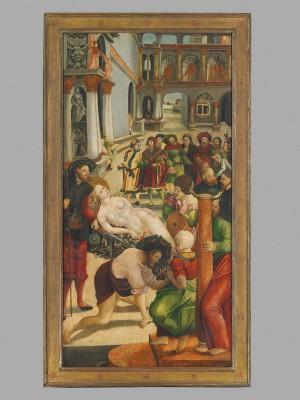 Jörg Greimolt, Martyrium der Hl. Agatha von Catania: Verbrennung, 1523, 109 x 57 cm, Stadtmuseum Weilheim
