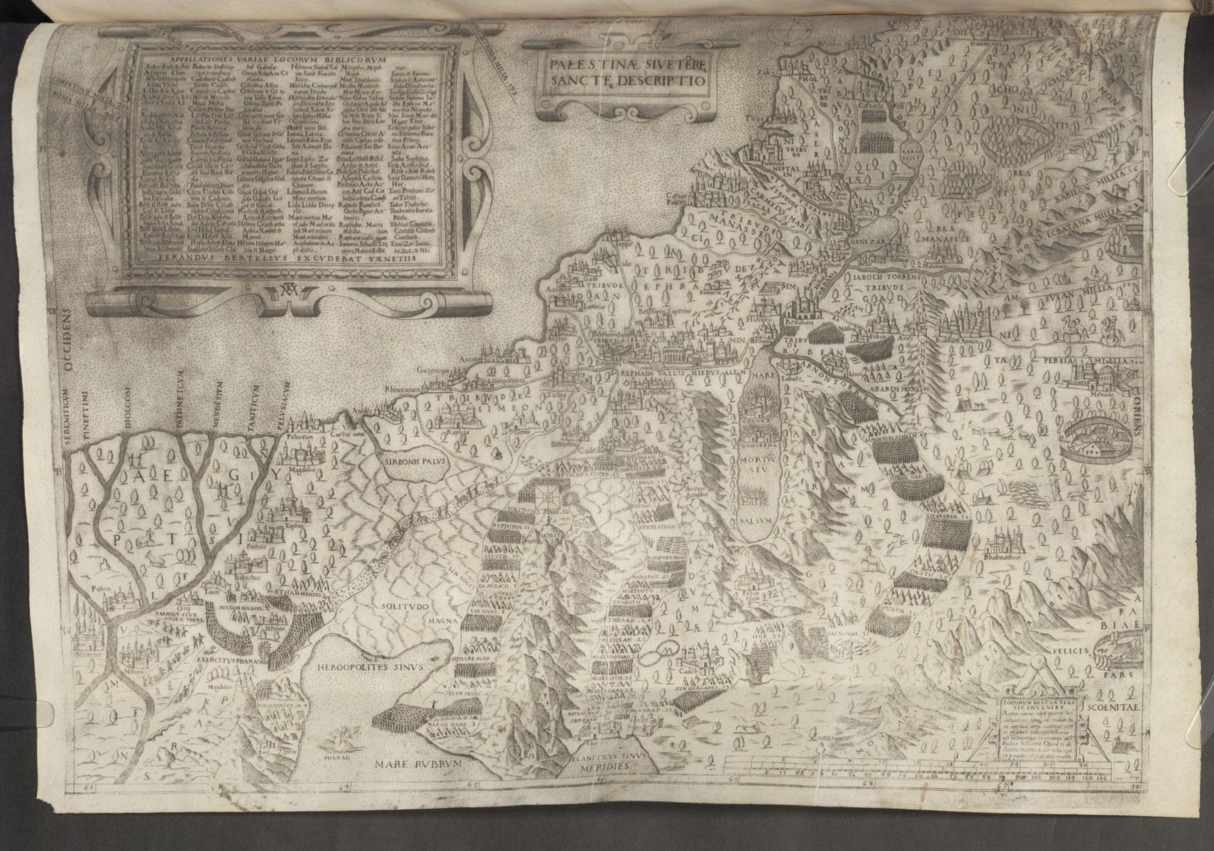Ferdinando Bertelli / Mario Cartaro, Palestinae Sive Terrae Sanctae Descriptio, Venedig, 1563, Kupferstich auf Papier, 50 x 37 cm; Bayerische Staatsbibliothek