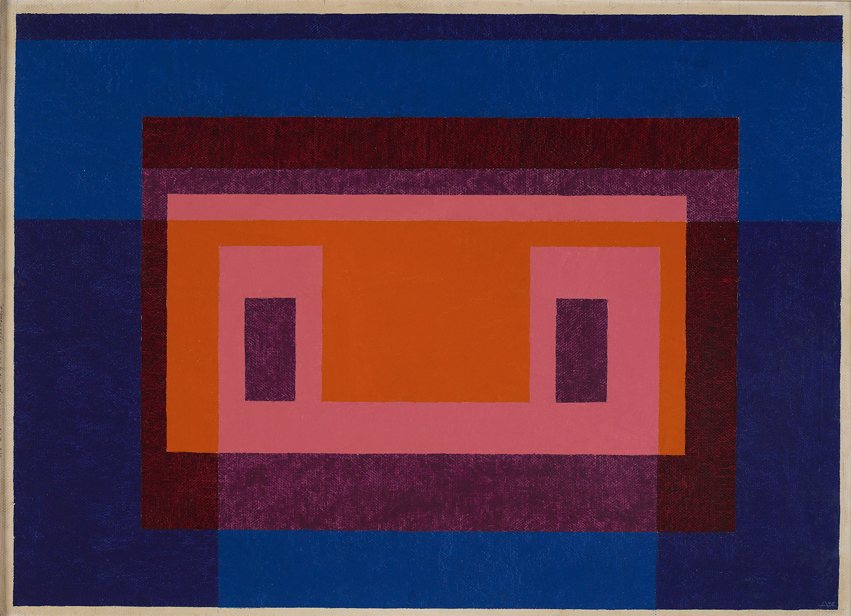 Josef Albers, Variant / Adobe, 4 Central Warm Colors Surrounded by 2 Blues, 1948, 63,5 x 88,9 cm;