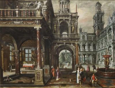 Paul Vredeman de Vries, Palastarchitektur mit höfischer Gesellschaft, 1607, 147,5×189,5 cm; Grassi-museum, Leipzig