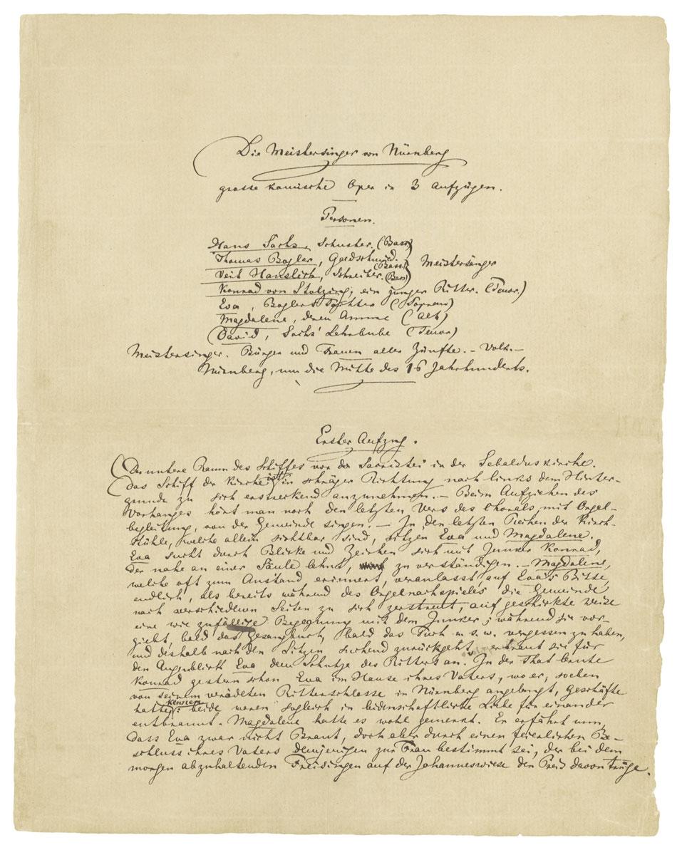Richard Wagner, Die Meistersinger von Nürnberg, erster Textentwurf, Autograph; © Schott Music Gmbh & Co. KG