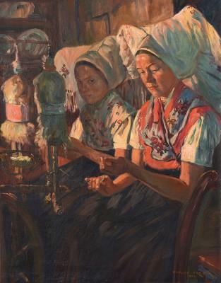 Philipp Franck, Spreewälder Spinnerinnen/Pśěźarce w Błotach, 1907, 68 x 53 cm; © Wendisches Museum, Cottbus/Foto: Bernd Choritz, Eichow/Dubje