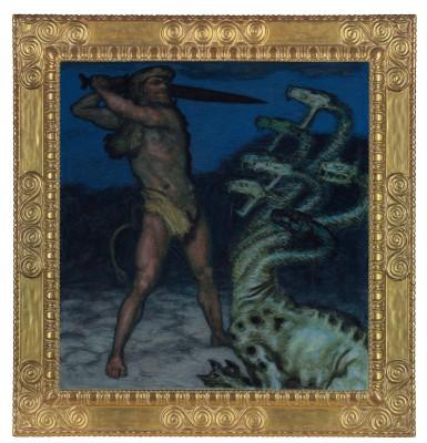 """Franz von Stuck, """"Herkules und die Hydra"""", 1915, Syntonos-Farben auf Leinwand, im Originalrahmen nach Entwurf von F. v. Stuck © Museum Villa Stuck, München"""