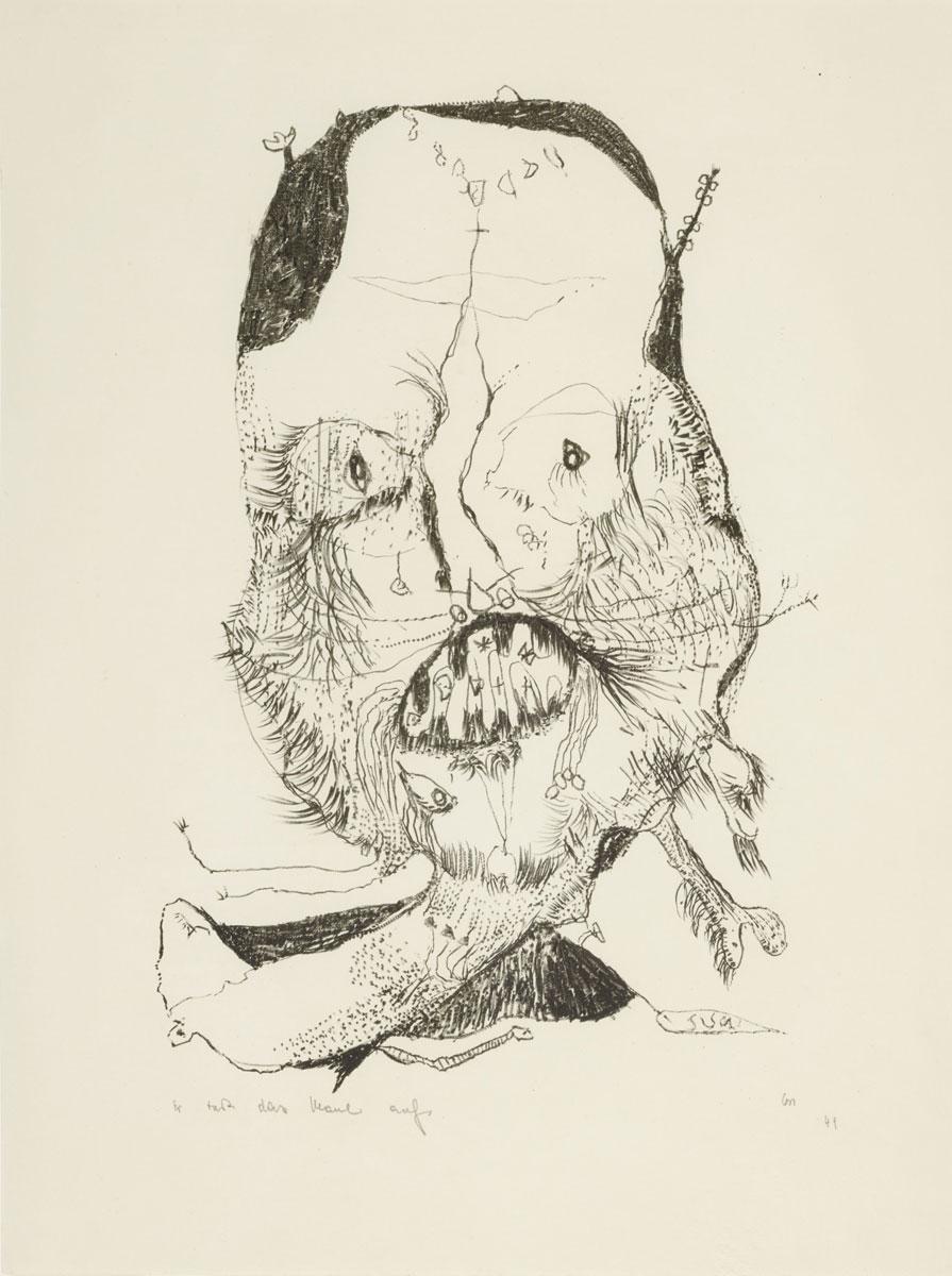 Er tut das Maul auf, 1949, Kreidelithographie, 39 x 25 cm, Kupferstichkabinett Berlin; © Stiftung Gerhard Altenbourg, Altenburg / VG Bild-Kunst, Bonn 2015 /Foto: bpk / Kupferstichkabinett, SMB / Volker-H.Schneider