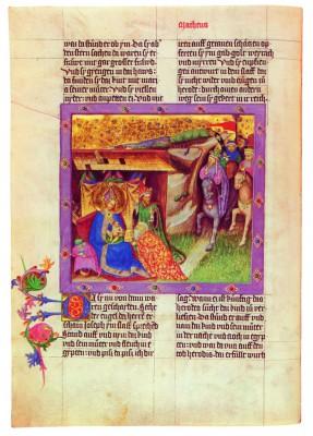 Miniatur eines der älteren Maler der Ottheinrich-Bibel, Regensburg um 1430 und später (fol.11v); erworben 2008 von der Bayerischen Staatsbibliothek München (© Bayerische Staatsbibliothek München)