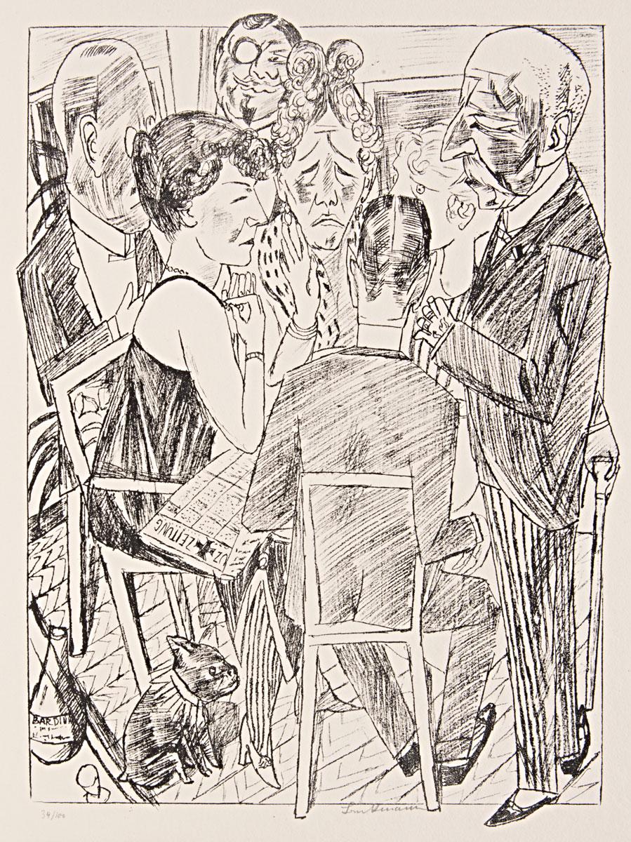 Max Beckmann, Berliner Reise, aus dem Mappenwerk mit insgesamt 10 Lithographien, 1922, 70 × 56 cm, Berlinische Galerie, Berlin