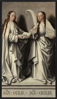 Meister von Frankfurt, Hl. Ottilia und Heilige Caecilia (Grisailletafel des Annenaltars), Frankfurt am Main, um 1503-1506, Ölmalerei auf Eichenholz