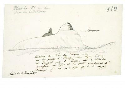 """Tagebuch VIIbb/c, 410r: Skizze der Tafel 51 des Humboldtschen Werks """"Vues des Cordilleres"""