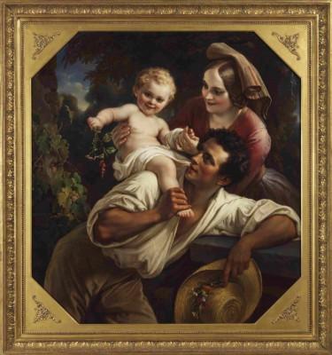Carl Joseph Begas d. Ä., Die Winzerfamilie, 1850, Öl/Leinwand, 118 x 110 cm © Begas Haus – Museum für Kunst und Regionalgeschichte Heinsberg, Foto: Friedrich Rosenstiel, Köln