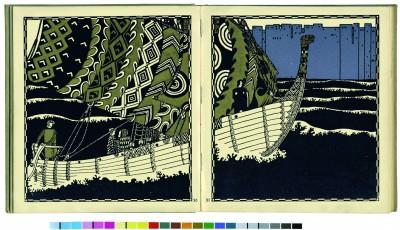 Doppelseitige Illustration von Carl Otto Czeschka, in: Franz Keim, Die Nibelungen, 1908 © Sammlung Friedrich C. Heller, Bilderbuchmuseum Troisdorf