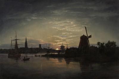 """""""Swinemünde bei Mondschein"""" von Johan Christian Dahl aus dem Jahr 1840"""