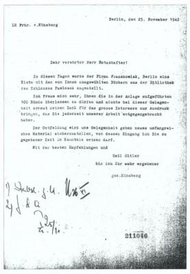 Künsberg an von der Schulenburg, Brief vom 25. November 1942