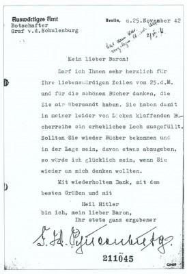 Dankschreiben von der Schulenburgs an Künsberg vom 25. November 1942