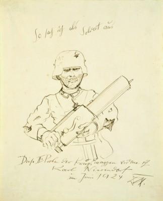 Otto Dix, So sah ich als Soldat aus, 1924, 42,7 × 34,4 © VG-Bildkunst, Bonn 2013/Berlinische Galerie
