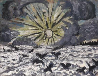 Otto Dix, Sonnenaufgang, 1913, Öl auf Papier und Pappe, 50,5 x 60 cm Städtische Galerie Dresden - Kunstsammlung
