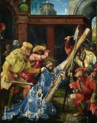 Matthias Grünewald, Die Kreuztragung Christi, 1523-25, 196 x 152 cm, Gesamtaufnahme des Zustands 2013; Staatliche Kunsthalle Karlsruhe © Fokus GmbH Leipzig, 2013